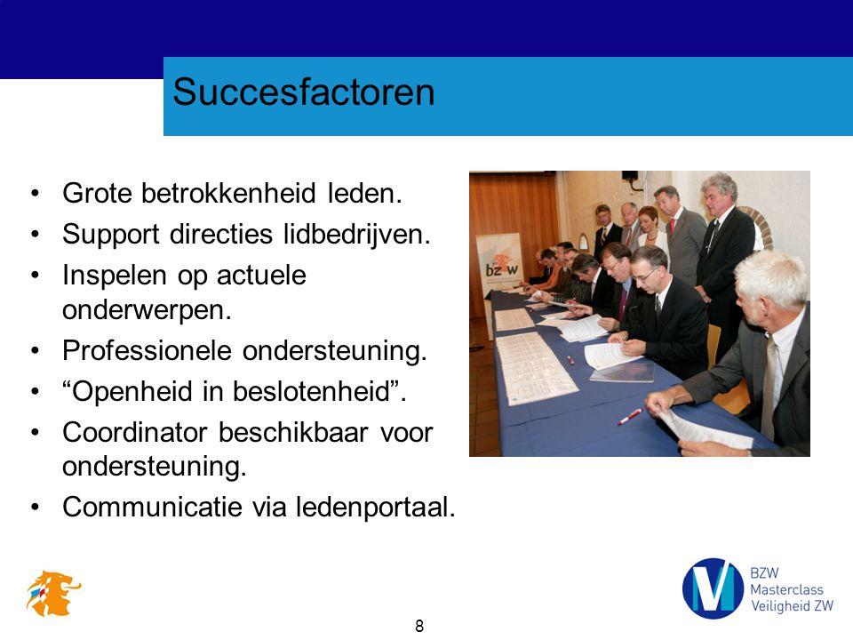 """8 Succesfactoren Grote betrokkenheid leden. Support directies lidbedrijven. Inspelen op actuele onderwerpen. Professionele ondersteuning. """"Openheid in"""