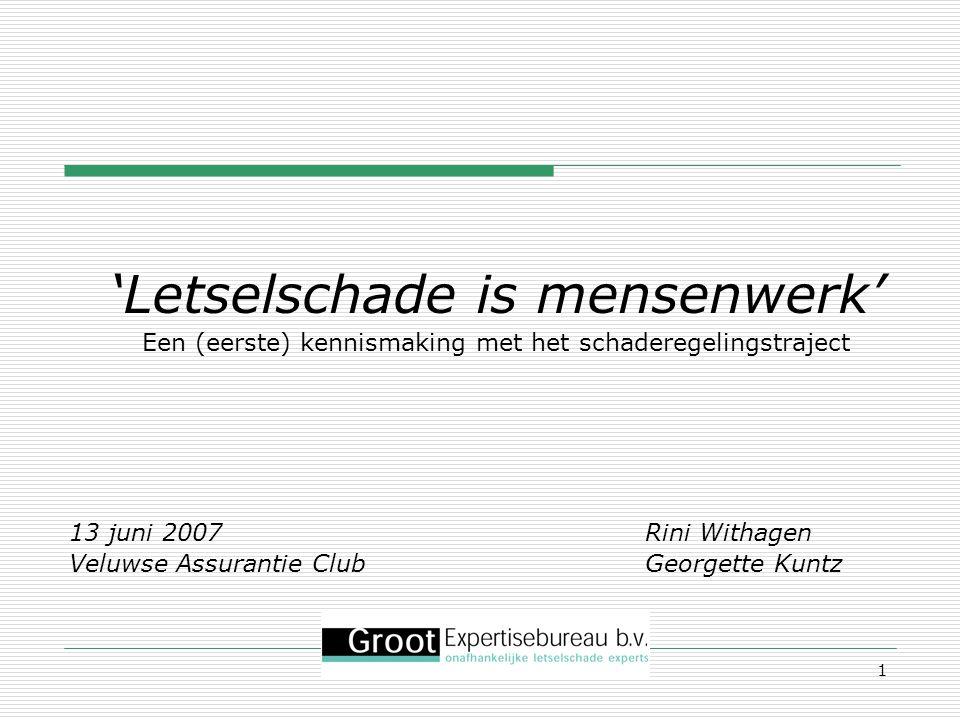 1 'Letselschade is mensenwerk' Een (eerste) kennismaking met het schaderegelingstraject 13 juni 2007 Rini Withagen Veluwse Assurantie Club Georgette K