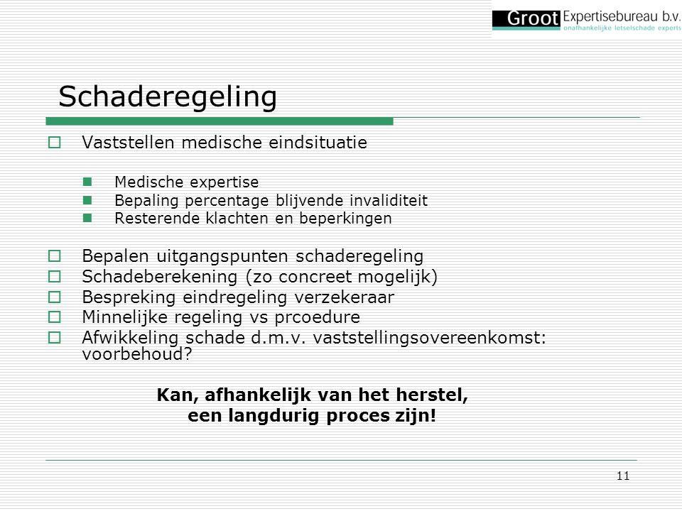 11  Vaststellen medische eindsituatie Medische expertise Bepaling percentage blijvende invaliditeit Resterende klachten en beperkingen  Bepalen uitg