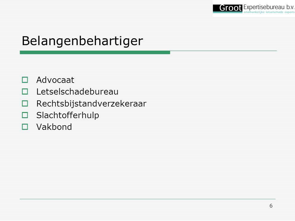6 Belangenbehartiger  Advocaat  Letselschadebureau  Rechtsbijstandverzekeraar  Slachtofferhulp  Vakbond