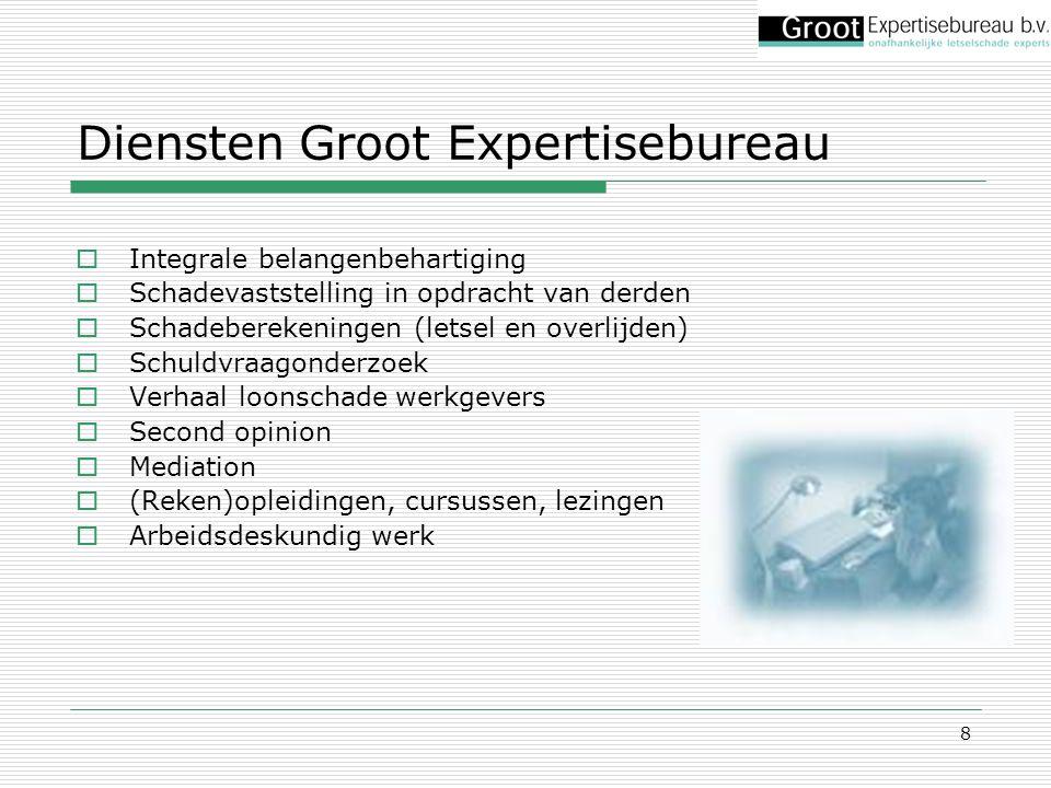 8 Diensten Groot Expertisebureau  Integrale belangenbehartiging  Schadevaststelling in opdracht van derden  Schadeberekeningen (letsel en overlijde