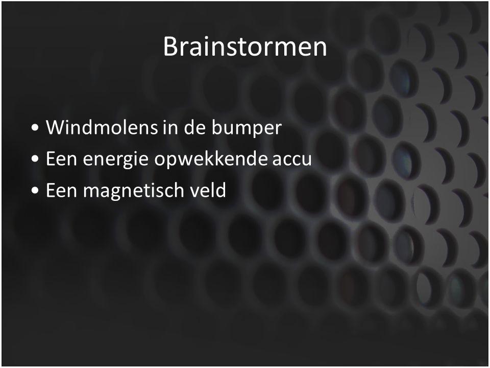 Brainstormen Windmolens in de bumper Een energie opwekkende accu Een magnetisch veld