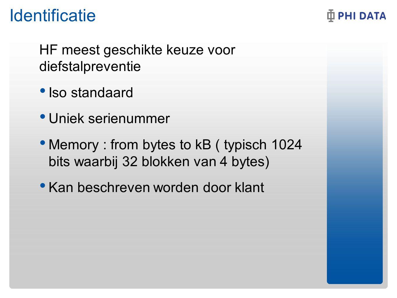 Identificatie HF meest geschikte keuze voor diefstalpreventie Iso standaard Uniek serienummer Memory : from bytes to kB ( typisch 1024 bits waarbij 32 blokken van 4 bytes) Kan beschreven worden door klant