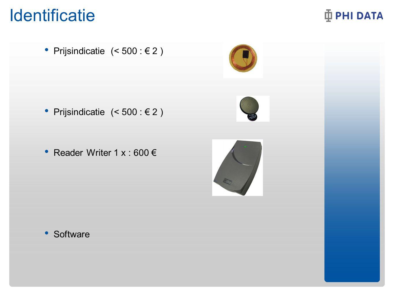 Identificatie Prijsindicatie (< 500 : € 2 ) Reader Writer 1 x : 600 € Software