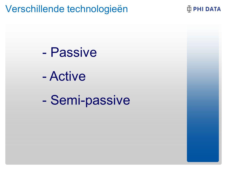 - Passive - Active - Semi-passive Verschillende technologieën