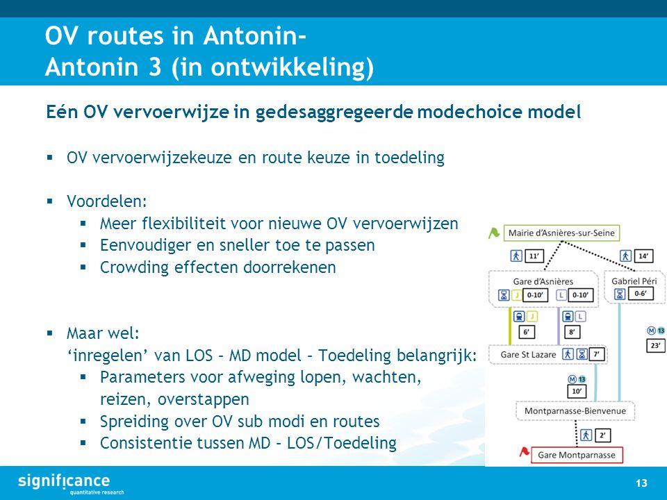OV routes in Antonin- Antonin 3 (in ontwikkeling) 13 Eén OV vervoerwijze in gedesaggregeerde modechoice model  OV vervoerwijzekeuze en route keuze in