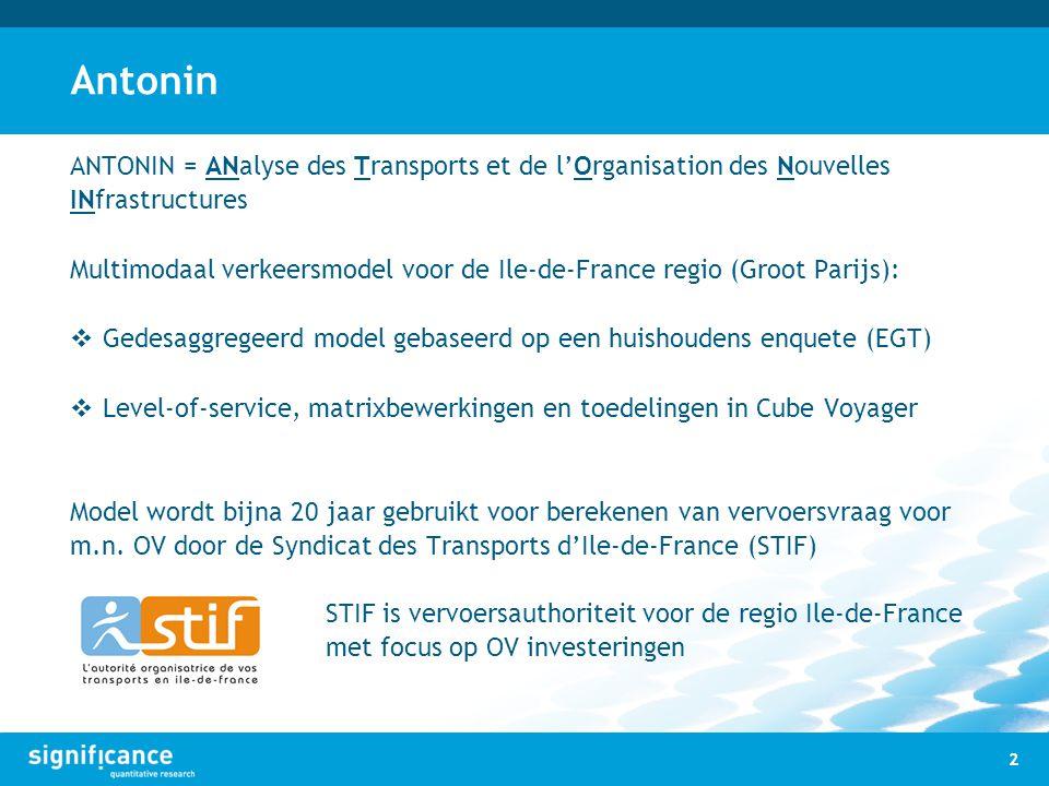 Antonin ANTONIN = ANalyse des Transports et de l'Organisation des Nouvelles INfrastructures Multimodaal verkeersmodel voor de Ile-de-France regio (Gro