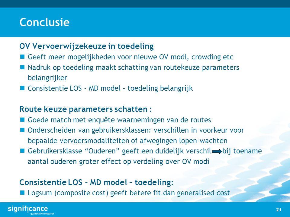 Conclusie OV Vervoerwijzekeuze in toedeling Geeft meer mogelijkheden voor nieuwe OV modi, crowding etc Nadruk op toedeling maakt schatting van routeke