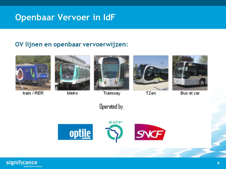 Openbaar Vervoer in IdF 9 OV lijnen en openbaar vervoerwijzen: