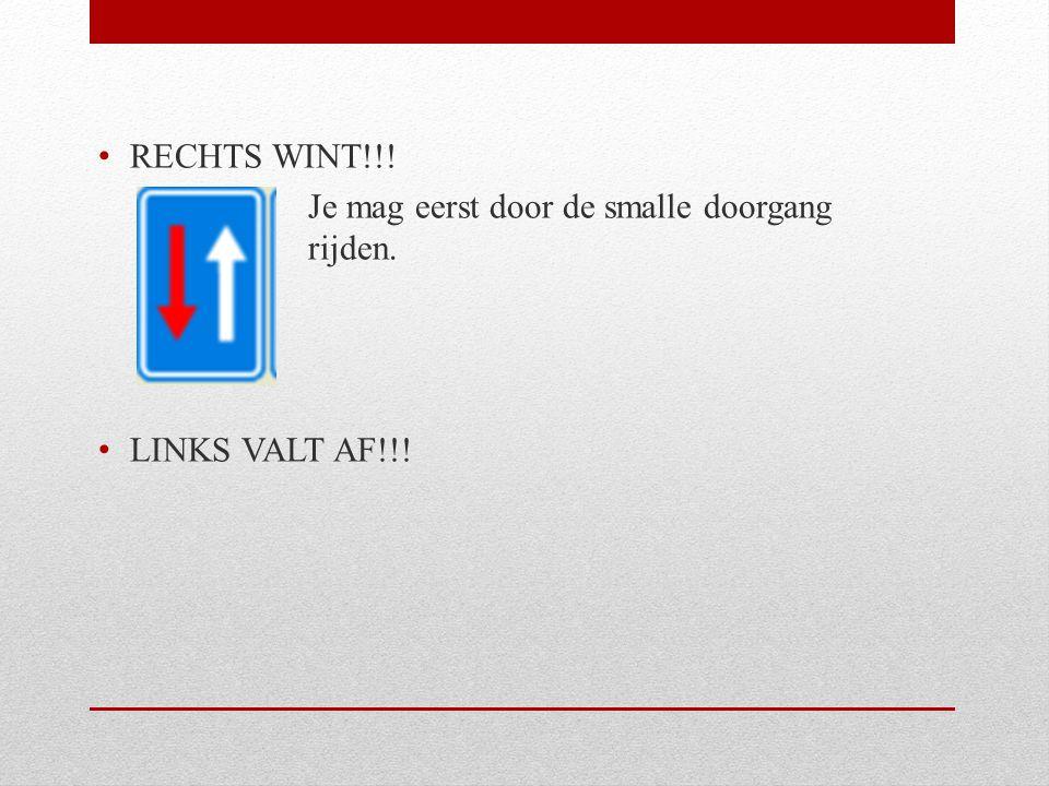 RECHTS WINT!!! Je mag eerst door de smalle doorgang rijden. LINKS VALT AF!!!
