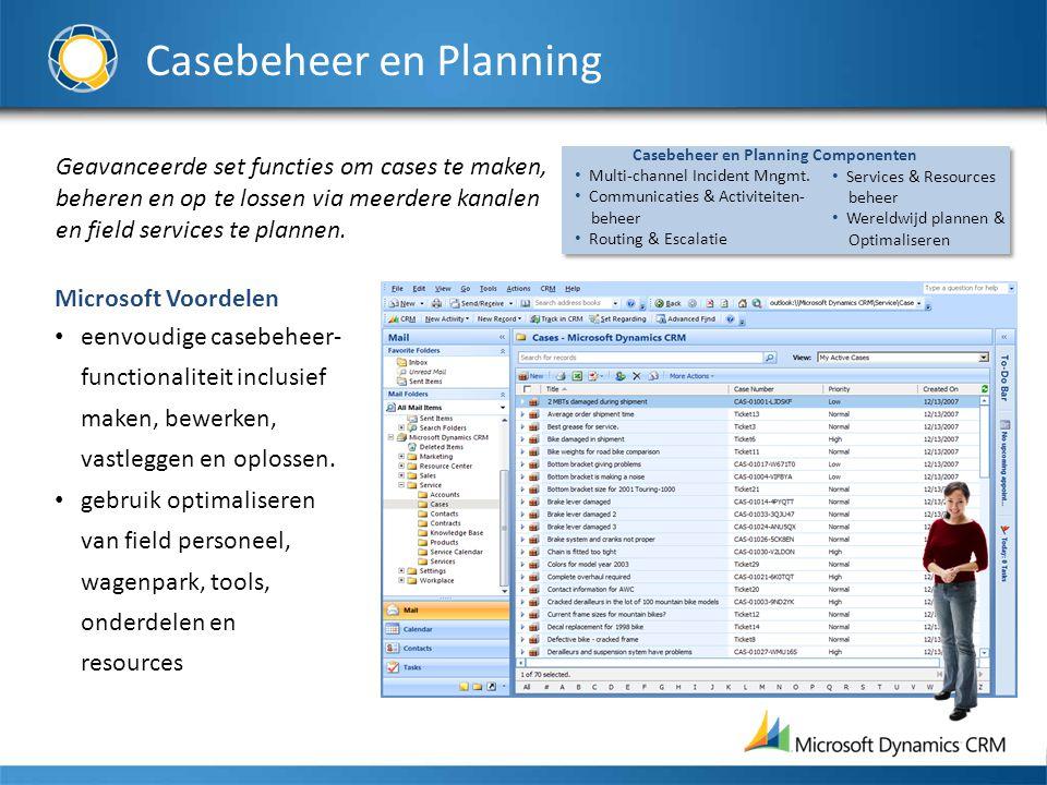 Casebeheer en Planning Geavanceerde set functies om cases te maken, beheren en op te lossen via meerdere kanalen en field services te plannen.