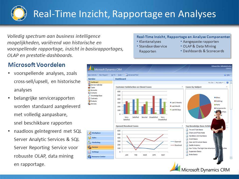 Real-Time Inzicht, Rapportage en Analyses Volledig spectrum aan business intelligence mogelijkheden, variërend van historische en voorspellende rapportage, inzicht in basisrapportages, OLAP en prestatie-dashboards.