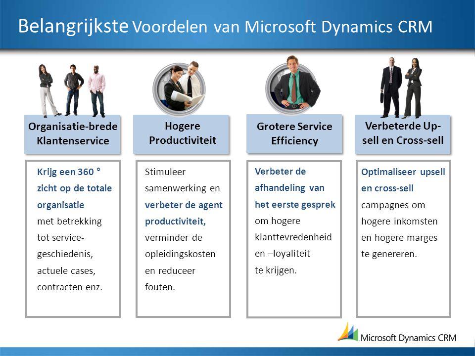 Belangrijkste Voordelen van Microsoft Dynamics CRM Krijg een 360 ° zicht op de totale organisatie met betrekking tot service- geschiedenis, actuele cases, contracten enz.