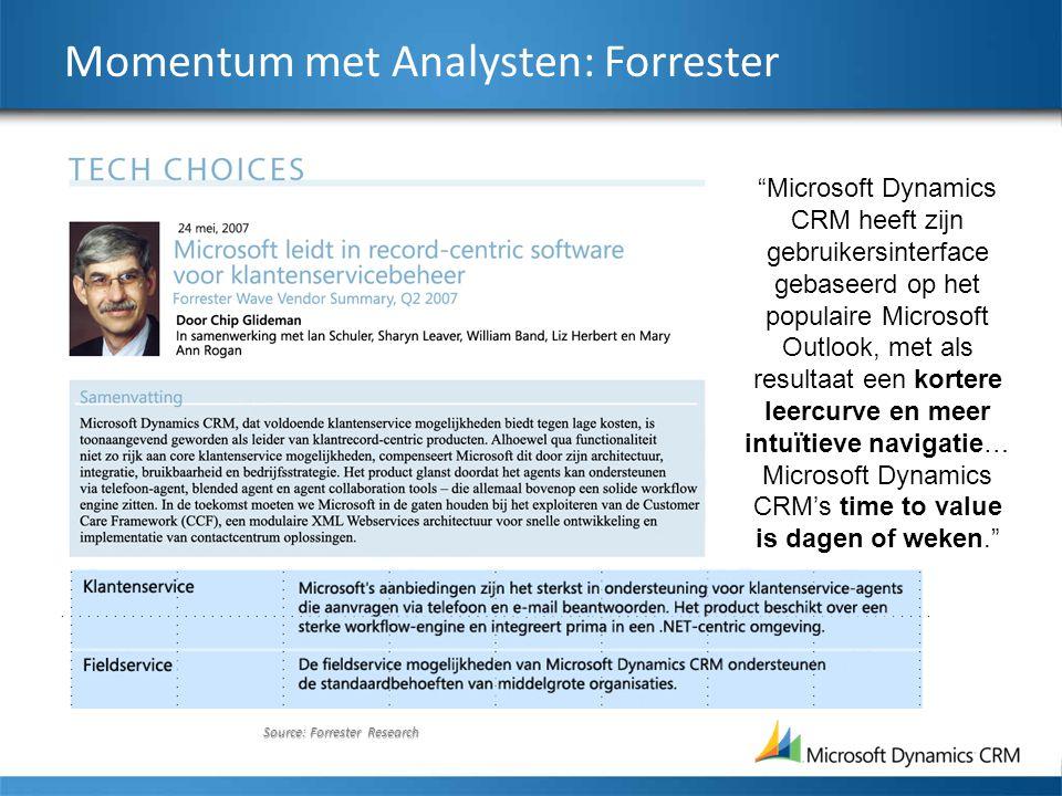 Source: Forrester Research Momentum met Analysten: Forrester Microsoft Dynamics CRM heeft zijn gebruikersinterface gebaseerd op het populaire Microsoft Outlook, met als resultaat een kortere leercurve en meer intuïtieve navigatie… Microsoft Dynamics CRM's time to value is dagen of weken.