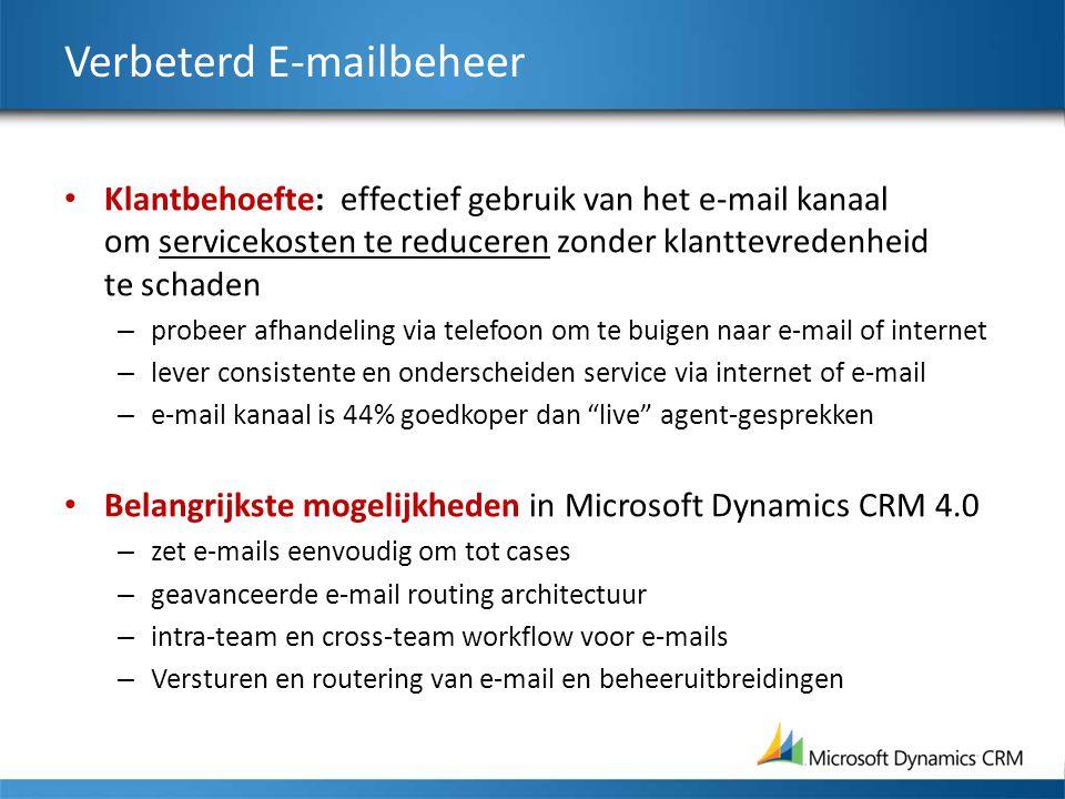 Verbeterd E-mailbeheer Klantbehoefte: effectief gebruik van het e-mail kanaal om servicekosten te reduceren zonder klanttevredenheid te schaden – probeer afhandeling via telefoon om te buigen naar e-mail of internet – lever consistente en onderscheiden service via internet of e-mail – e-mail kanaal is 44% goedkoper dan live agent-gesprekken Belangrijkste mogelijkheden in Microsoft Dynamics CRM 4.0 – zet e-mails eenvoudig om tot cases – geavanceerde e-mail routing architectuur – intra-team en cross-team workflow voor e-mails – Versturen en routering van e-mail en beheeruitbreidingen