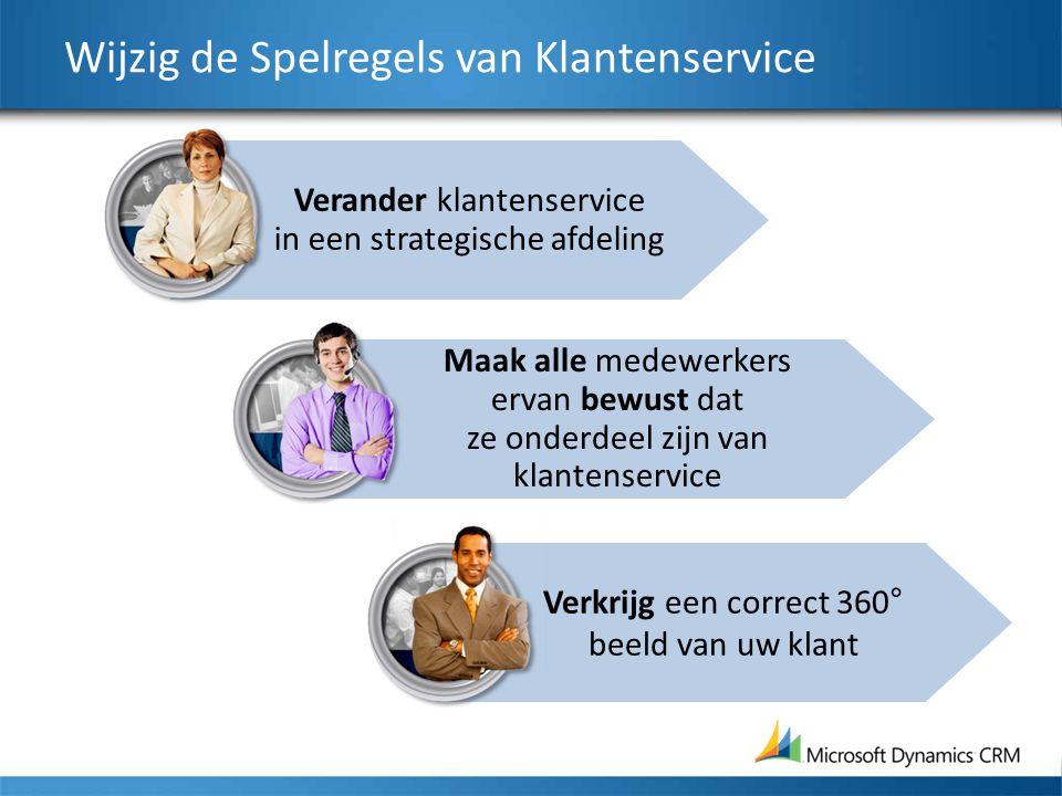 Verander klantenservice in een strategische afdeling Wijzig de Spelregels van Klantenservice Maak alle medewerkers ervan bewust dat ze onderdeel zijn van klantenservice Verkrijg een correct 360° beeld van uw klant