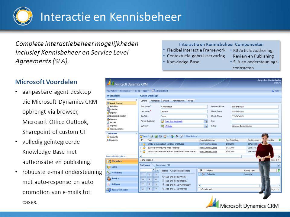 Interactie en Kennisbeheer Complete interactiebeheer mogelijkheden inclusief Kennisbeheer en Service Level Agreements (SLA).
