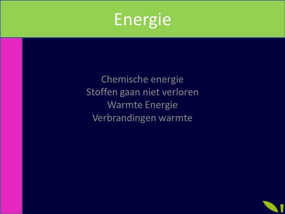 Chemische energie Stoffen gaan niet verloren Warmte Energie Verbrandingen warmte Energie