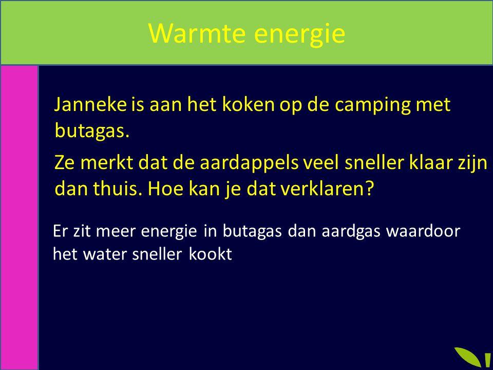 Warmte energie Janneke is aan het koken op de camping met butagas. Ze merkt dat de aardappels veel sneller klaar zijn dan thuis. Hoe kan je dat verkla