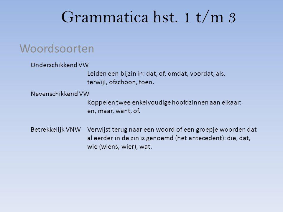Grammatica hst. 1 t/m 3 Woordsoorten Onderschikkend VW Leiden een bijzin in: dat, of, omdat, voordat, als, terwijl, ofschoon, toen. Nevenschikkend VW