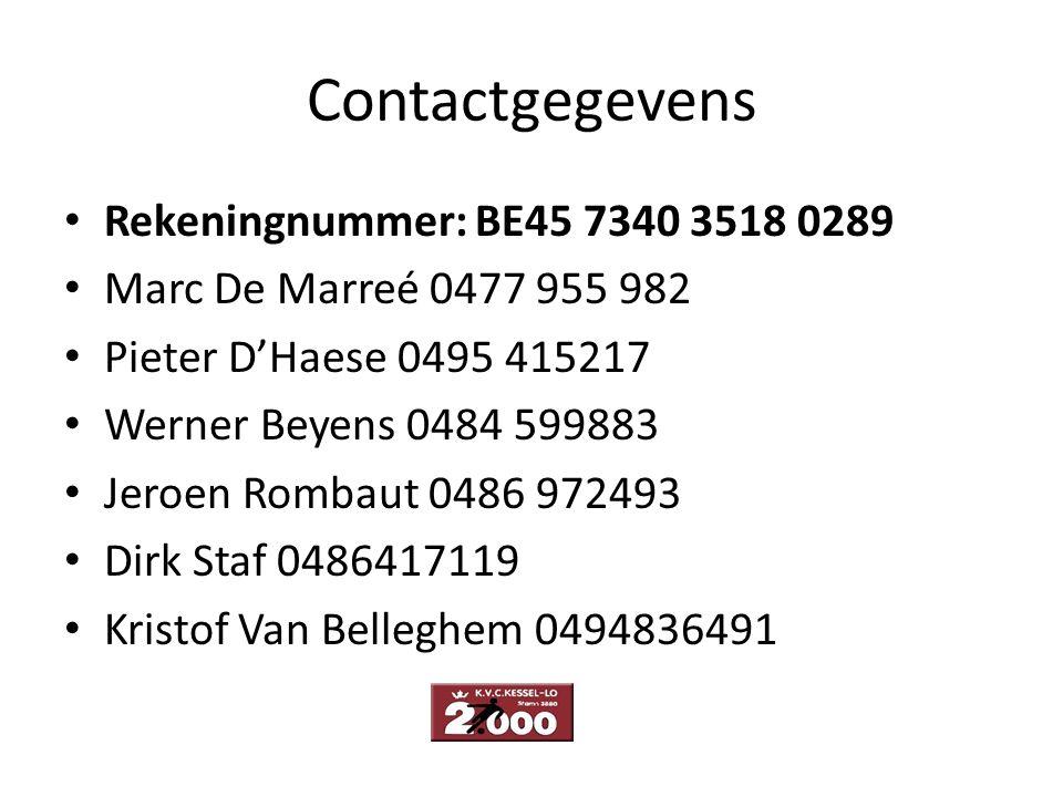 Contactgegevens Rekeningnummer: BE45 7340 3518 0289 Marc De Marreé 0477 955 982 Pieter D'Haese 0495 415217 Werner Beyens 0484 599883 Jeroen Rombaut 04