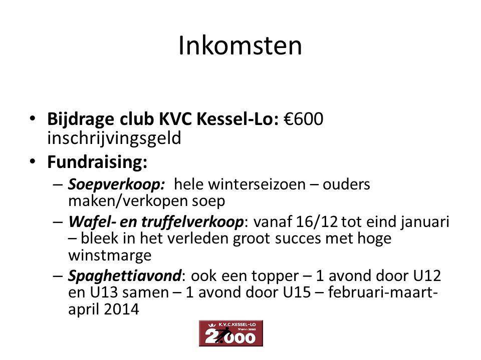 Inkomsten Bijdrage club KVC Kessel-Lo: €600 inschrijvingsgeld Fundraising: – Soepverkoop: hele winterseizoen – ouders maken/verkopen soep – Wafel- en