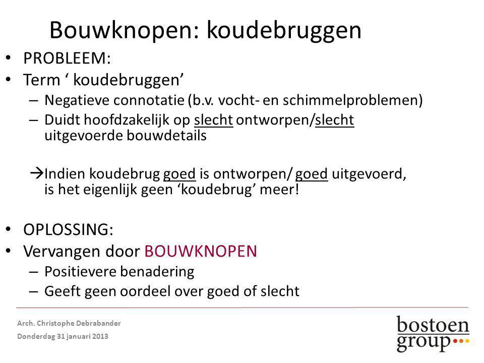 Bouwknopen: koudebruggen PROBLEEM: Term ' koudebruggen' – Negatieve connotatie (b.v.
