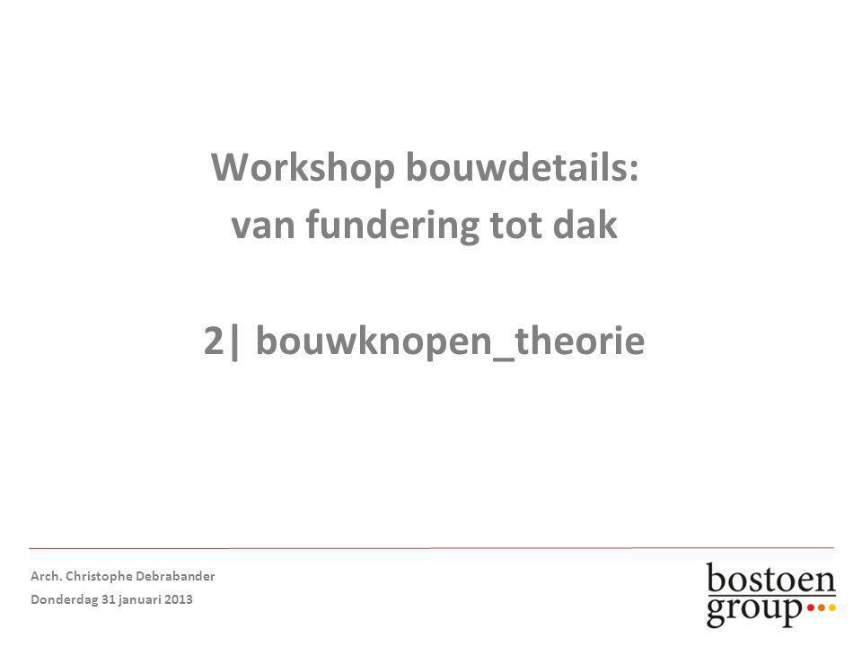 Workshop bouwdetails: van fundering tot dak 2| bouwknopen_theorie Arch.