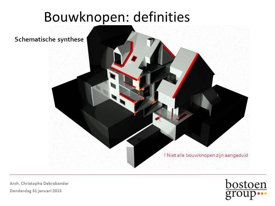 Bouwknopen: definities Schematische synthese .Niet alle bouwknopen zijn aangeduid Opmaak: Arch.