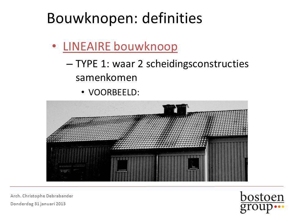 Bouwknopen: definities LINEAIRE bouwknoop – TYPE 1: waar 2 scheidingsconstructies samenkomen VOORBEELD: Gemene muur tegen onderdak = isolatie onderbroken Opmaak: Arch.