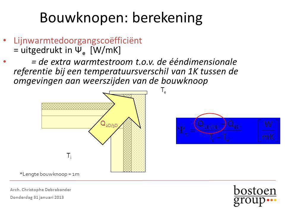 Bouwknopen: berekening Lijnwarmtedoorgangscoëfficiënt = uitgedrukt in Ψ e [W/mK] = de extra warmtestroom t.o.v.