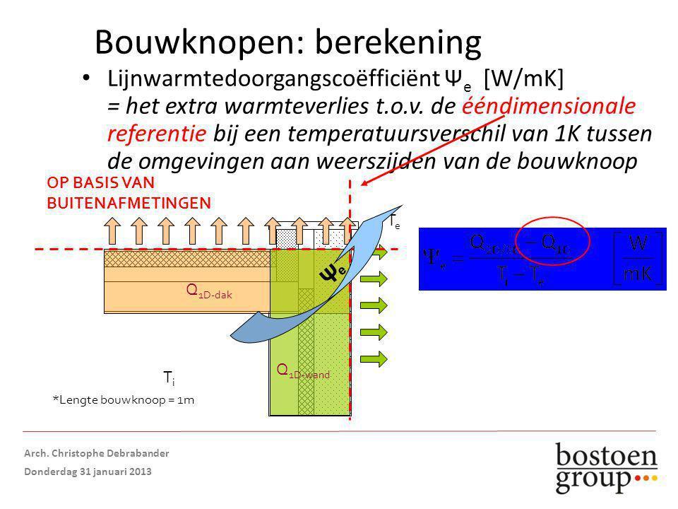 Bouwknopen: berekening Lijnwarmtedoorgangscoëfficiënt Ψ e [W/mK] = het extra warmteverlies t.o.v.