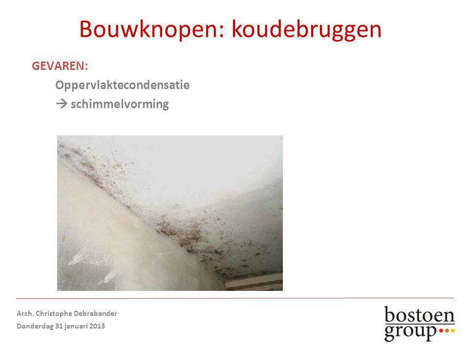 Bouwknopen: koudebruggen GEVAREN: Oppervlaktecondensatie  schimmelvorming Arch.