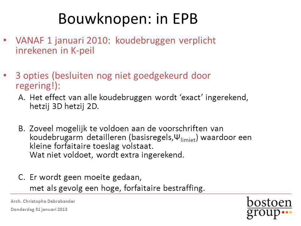 Bouwknopen: in EPB VANAF 1 januari 2010: koudebruggen verplicht inrekenen in K-peil 3 opties (besluiten nog niet goedgekeurd door regering!): A.Het effect van alle koudebruggen wordt 'exact' ingerekend, hetzij 3D hetzij 2D.