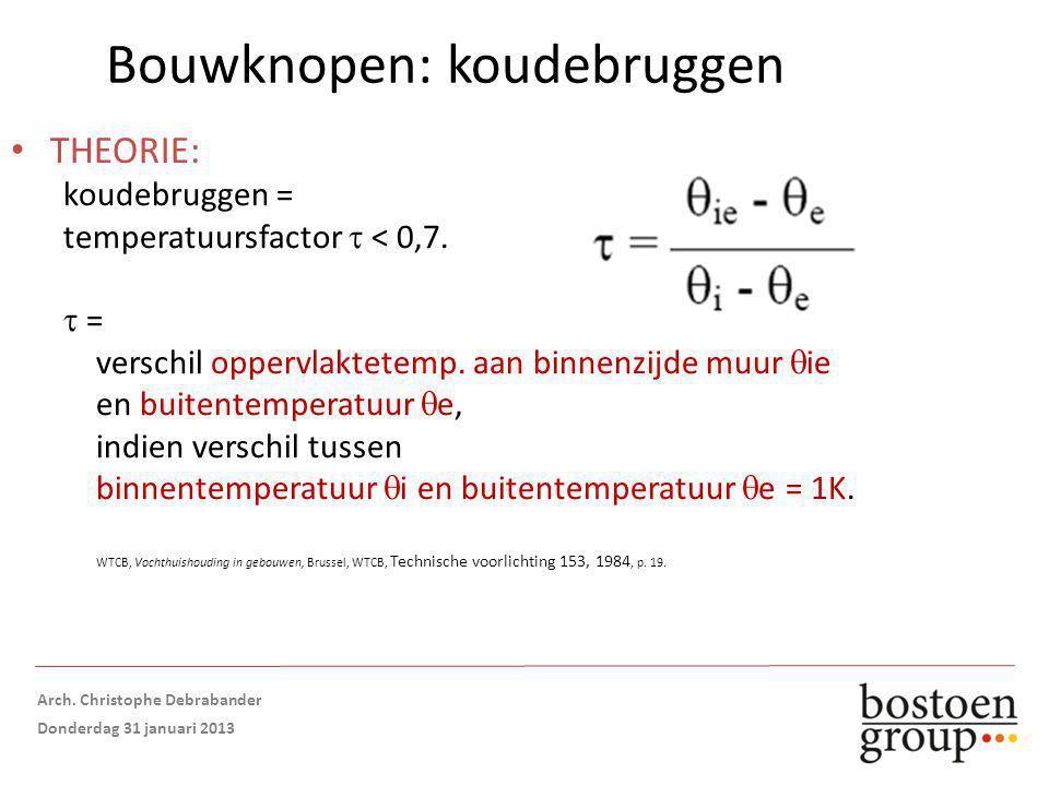 Bouwknopen: koudebruggen THEORIE: koudebruggen = temperatuursfactor  < 0,7.