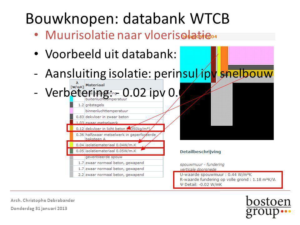 Bouwknopen: databank WTCB Muurisolatie naar vloerisolatie Voorbeeld uit databank: -Aansluiting isolatie: perinsul ipv snelbouw -Verbetering: - 0.02 ipv 0.02 Opmaak: Arch.