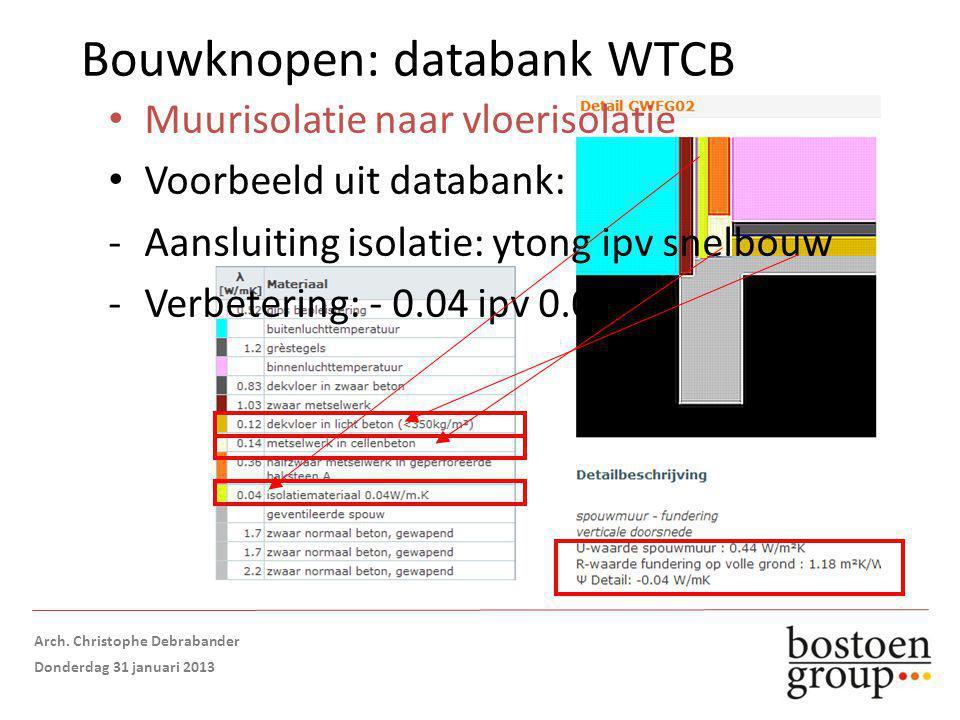 Bouwknopen: databank WTCB Muurisolatie naar vloerisolatie Voorbeeld uit databank: -Aansluiting isolatie: ytong ipv snelbouw -Verbetering: - 0.04 ipv 0.02 Opmaak: Arch.