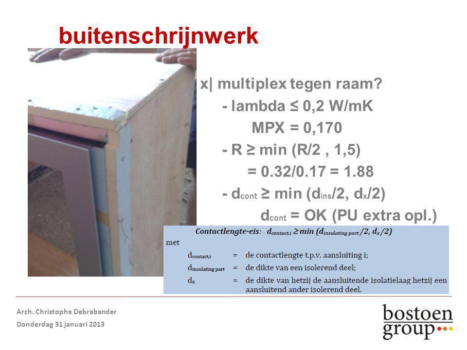 buitenschrijnwerk x| multiplex tegen raam.