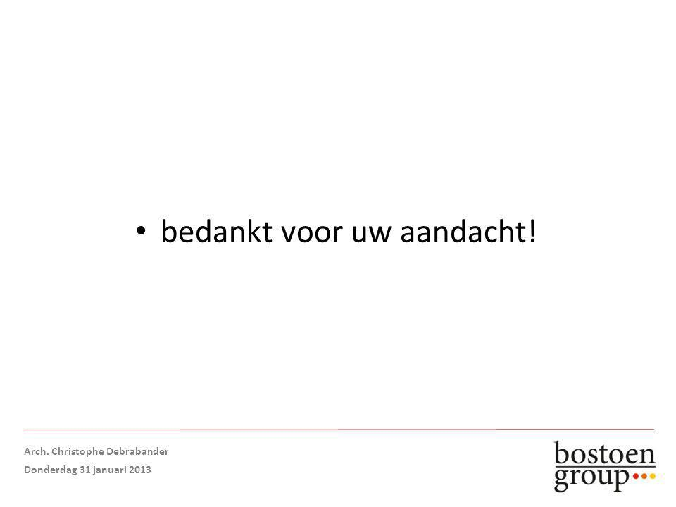bedankt voor uw aandacht! Arch. Christophe Debrabander Donderdag 31 januari 2013