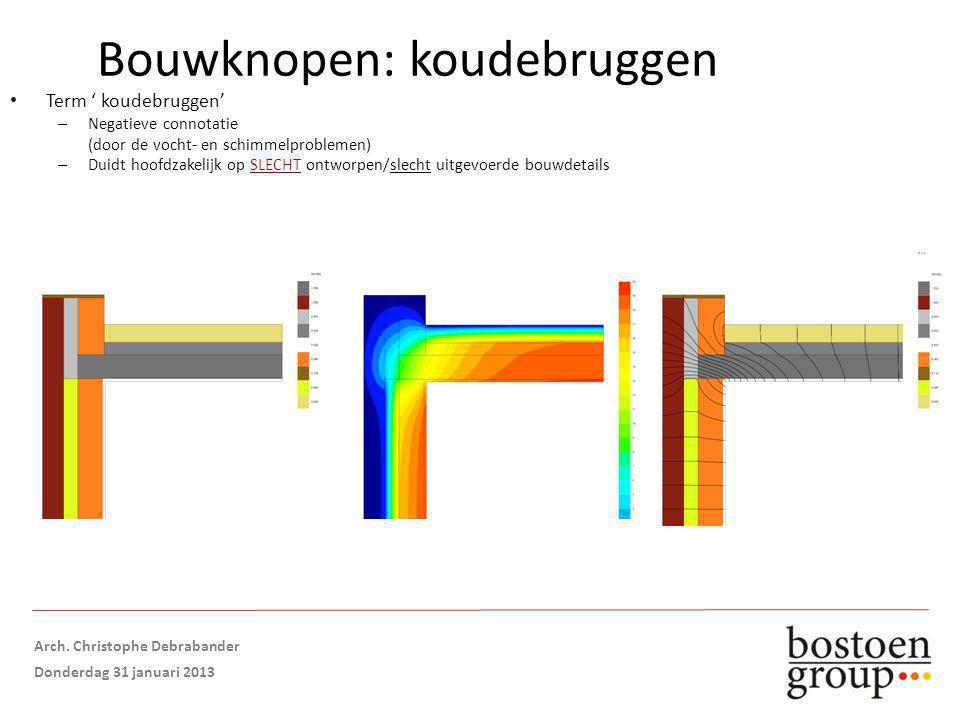 Term ' koudebruggen' – Negatieve connotatie (door de vocht- en schimmelproblemen) – Duidt hoofdzakelijk op SLECHT ontworpen/slecht uitgevoerde bouwdetails Isolatie in spouw TE LAAG GESTOPT Bouwknopen: koudebruggen Opmaak: Arch.