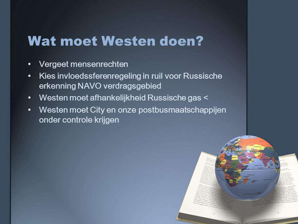 Wat moet Westen doen.