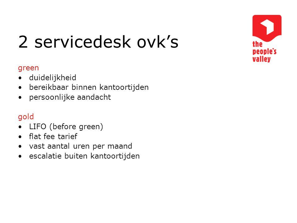 2 servicedesk ovk's green duidelijkheid bereikbaar binnen kantoortijden persoonlijke aandacht gold LIFO (before green) flat fee tarief vast aantal uren per maand escalatie buiten kantoortijden
