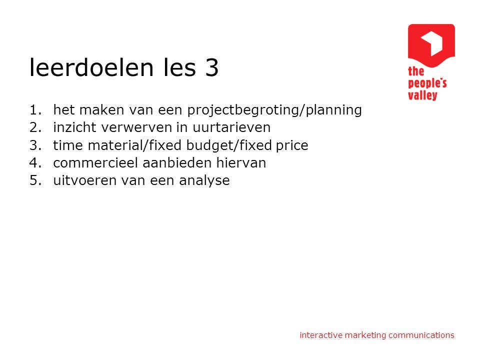 interactive marketing communications leerdoelen les 3 1.het maken van een projectbegroting/planning 2.inzicht verwerven in uurtarieven 3.time material