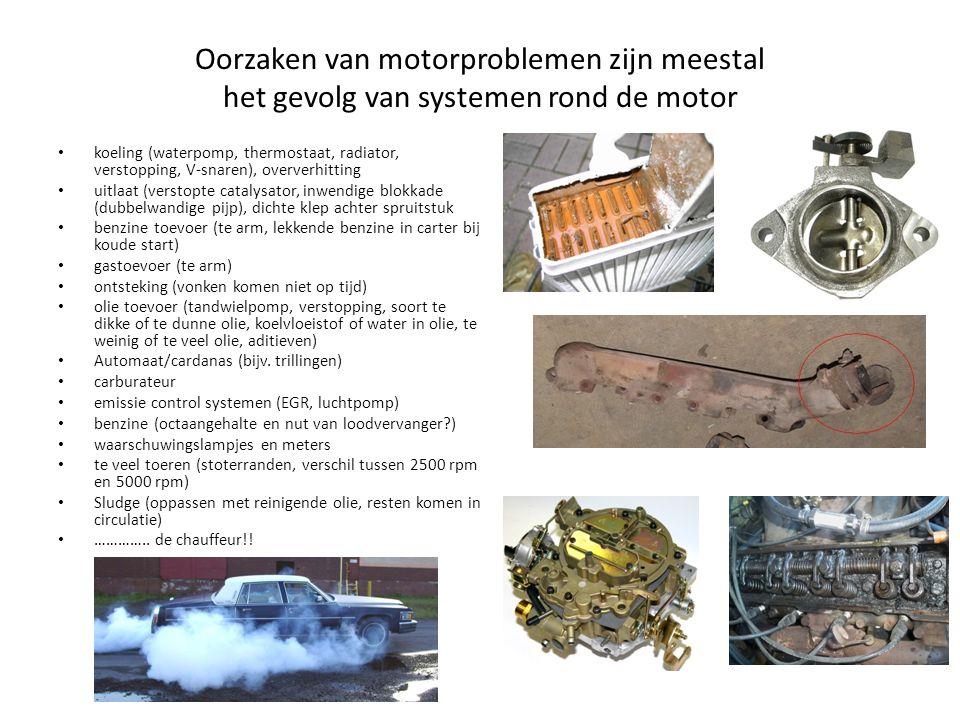 Oorzaken van motorproblemen zijn meestal het gevolg van systemen rond de motor koeling (waterpomp, thermostaat, radiator, verstopping, V-snaren), over