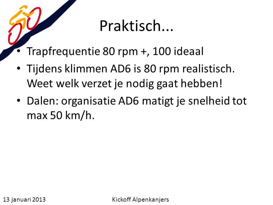 Praktisch... Trapfrequentie 80 rpm +, 100 ideaal Tijdens klimmen AD6 is 80 rpm realistisch. Weet welk verzet je nodig gaat hebben! Dalen: organisatie
