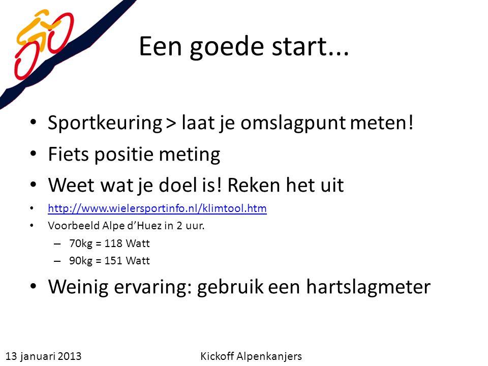 Een goede start... Sportkeuring > laat je omslagpunt meten! Fiets positie meting Weet wat je doel is! Reken het uit http://www.wielersportinfo.nl/klim