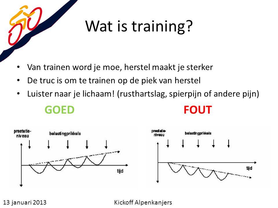 Wat is training? Van trainen word je moe, herstel maakt je sterker De truc is om te trainen op de piek van herstel Luister naar je lichaam! (rustharts