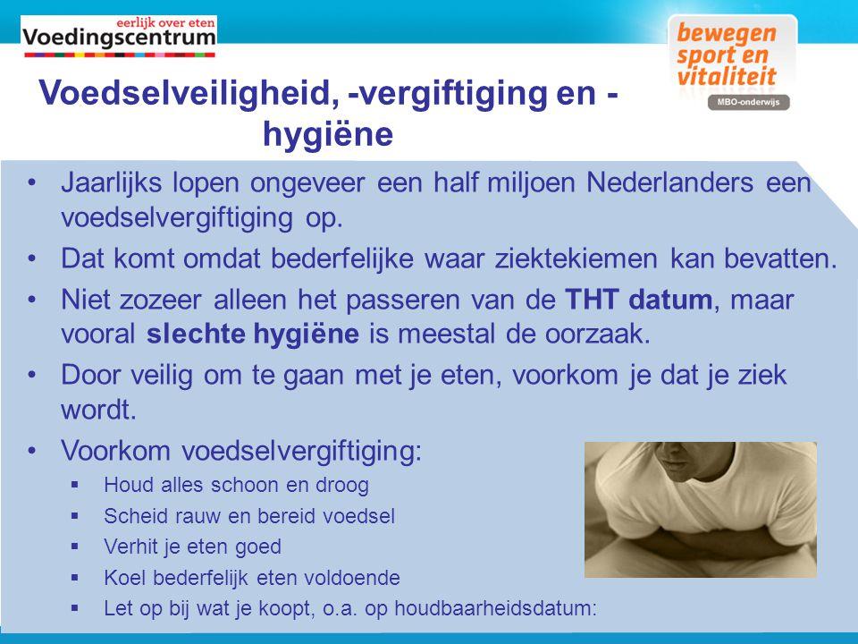 Voedselveiligheid, -vergiftiging en - hygiëne Jaarlijks lopen ongeveer een half miljoen Nederlanders een voedselvergiftiging op. Dat komt omdat bederf
