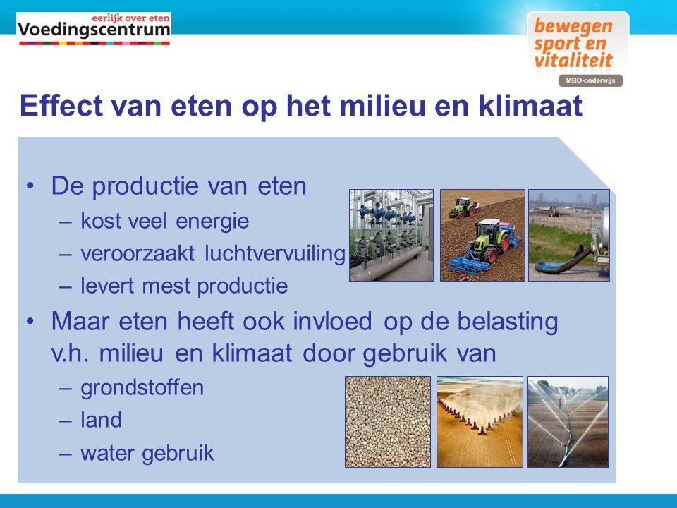 klimaatweegschaal De manier waarop voedselproducten worden …: –gemaakt –bewaard –bereid …heeft invloed op het klimaat Hoeveel invloed verschilt per product.