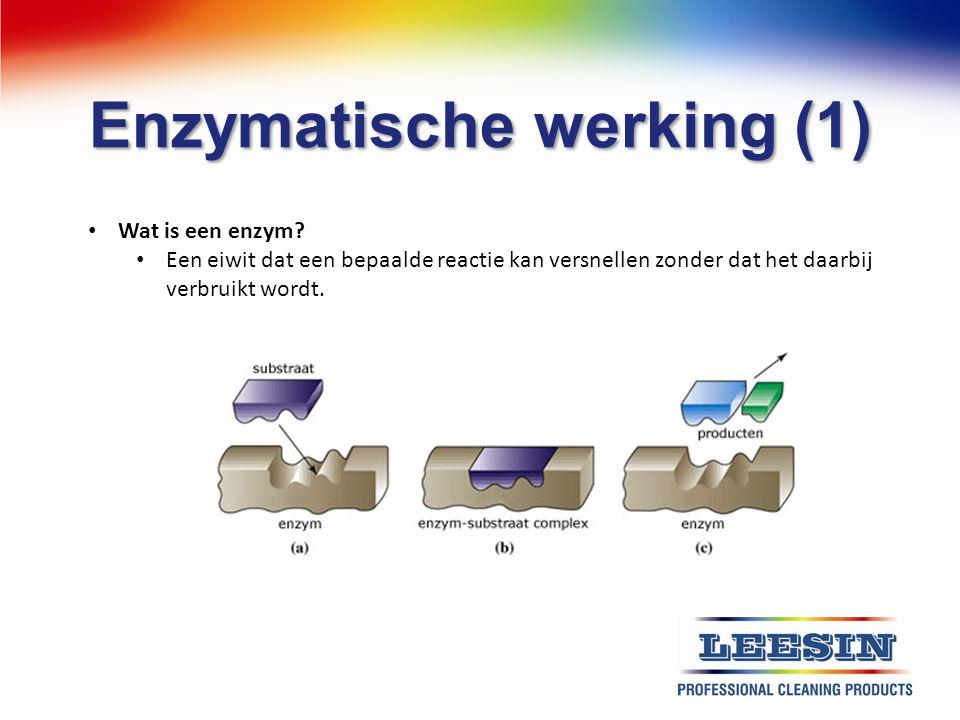 Enzymatische werking (1) Wat is een enzym? Een eiwit dat een bepaalde reactie kan versnellen zonder dat het daarbij verbruikt wordt.